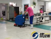 优尼斯L520BT手推式洗地机走进昆山食品厂