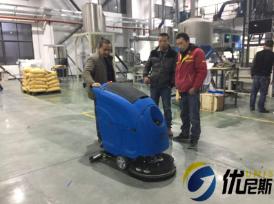美昱高分子材料有限公司使用优尼斯L520BT手推式洗地机
